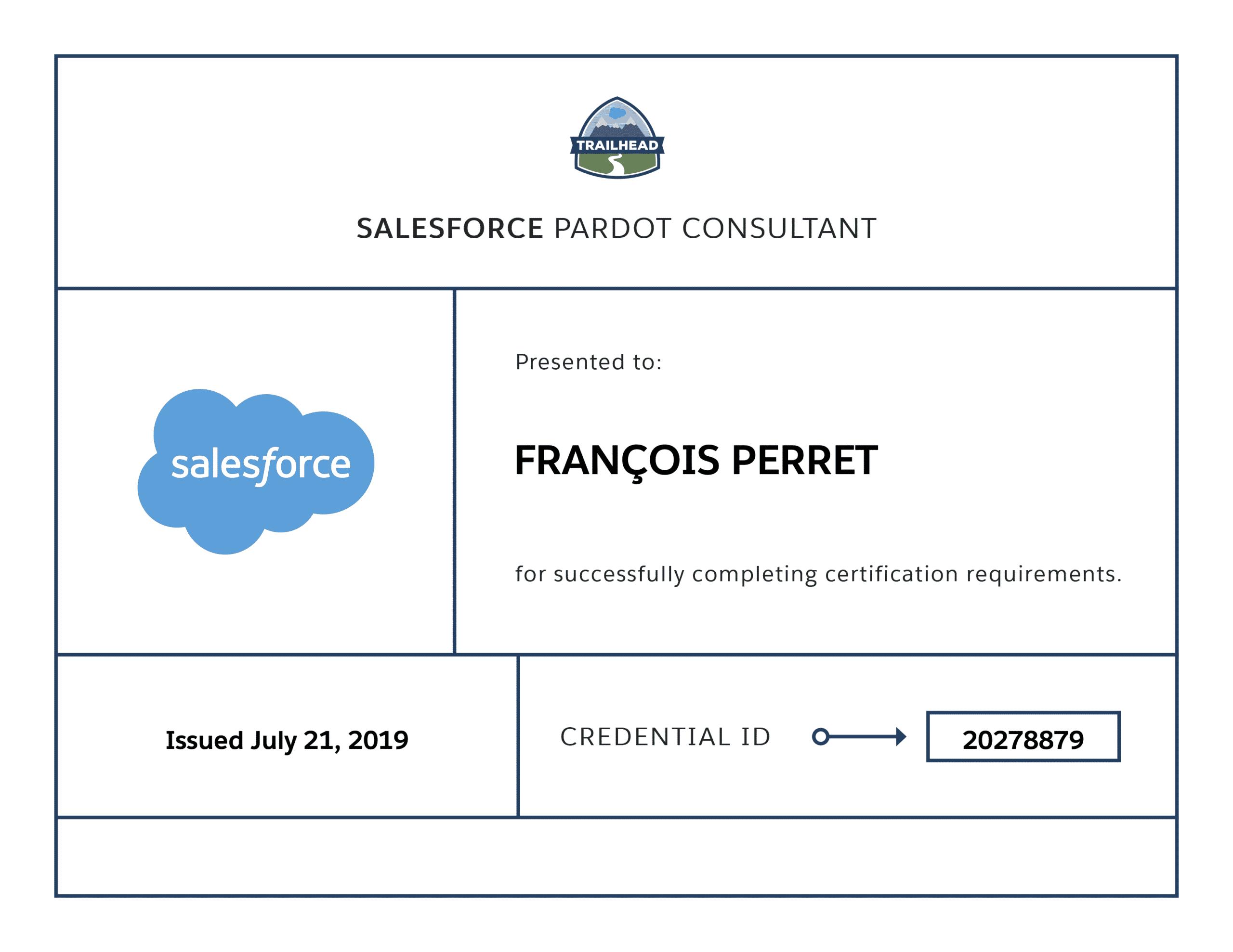 François Perret - Consultant certifié Salesforce Pardot